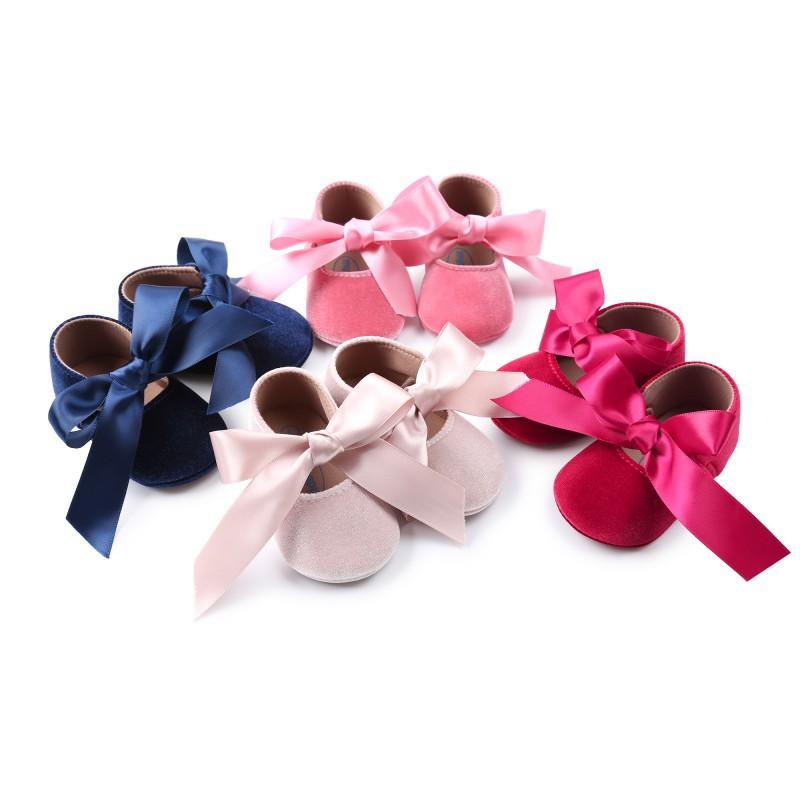 絲綢蝴蝶結公主鞋防滑嬰兒學步鞋【IU貝嬰屋】
