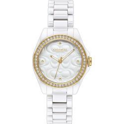 COACH 立體浮雕 閃耀晶鑽陶瓷女錶(白/28mm) 14503254