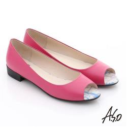 A.S.O 玩美女伶 全真皮素面低跟魚口鞋- 桃粉紅