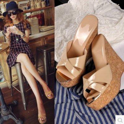 韓版新款 坡跟涼拖鞋 女夏平跟外穿一字拖 女時尚百搭學生女鞋