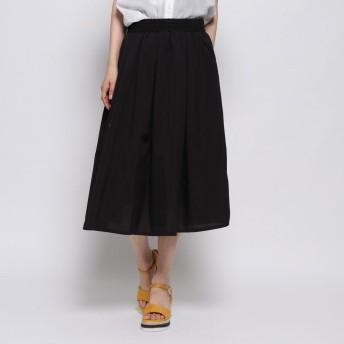 ジーラ GeeRA麻調合繊鮮やかフレアースカート (ブラック)