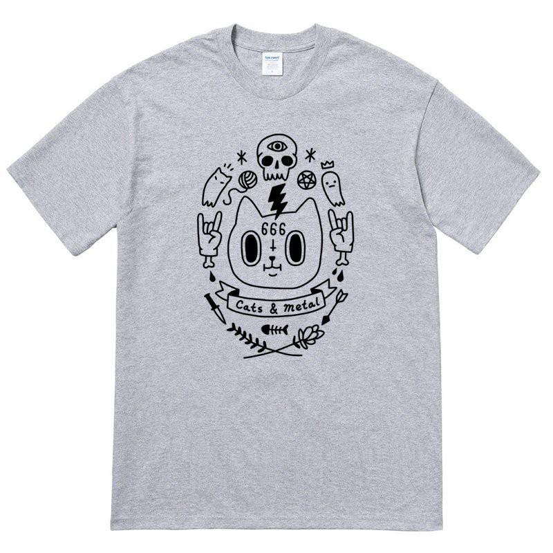 Cats & Metal 短袖T恤 6色 貓怪獸刺青十字架滑板龐克搖滾骷髏【快速出貨】