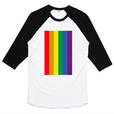 Rainbow flag 七分袖T恤 白黑色 自由戀愛平等成家同性戀彩虹彩色旗和平