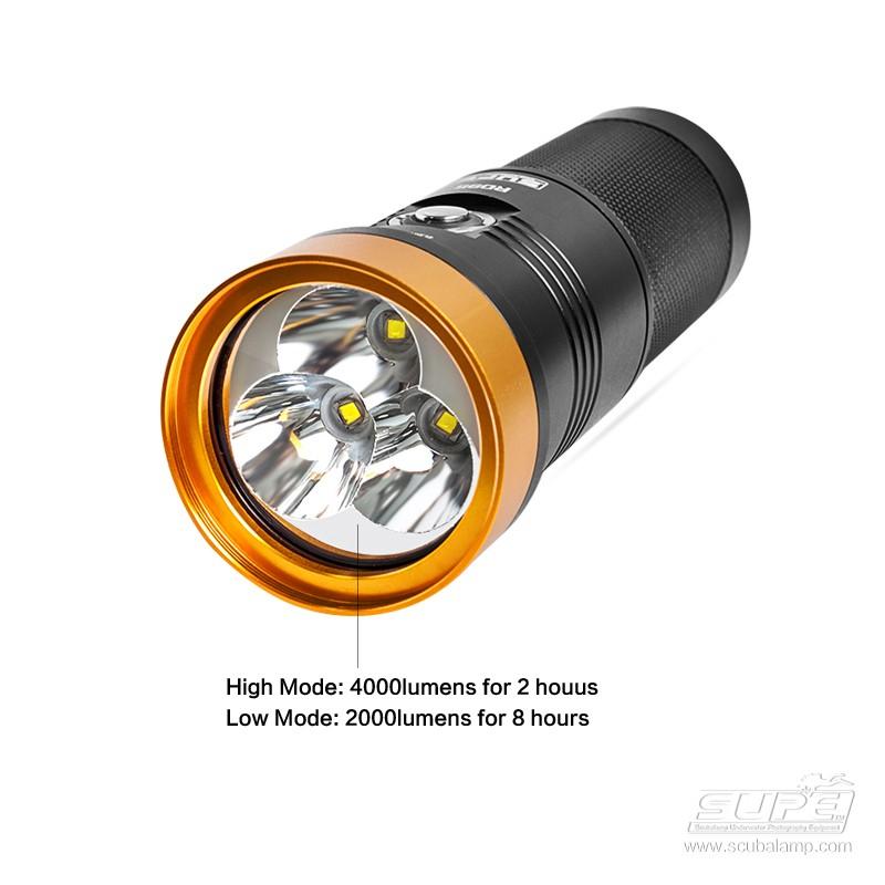 SUPE RD95 4000流明強光探照燈 潛水手電筒