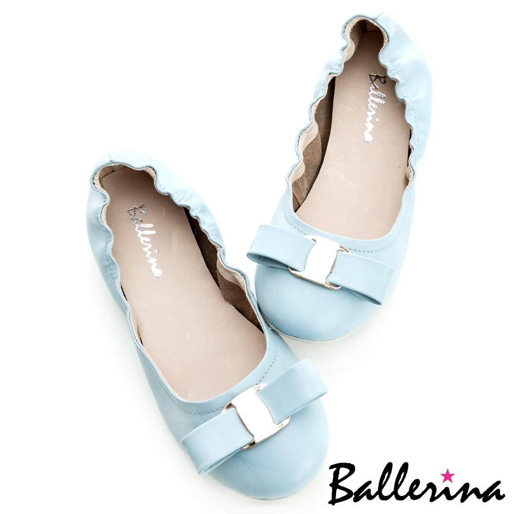 Ballerina-全真皮金釦蝴蝶娃娃鞋-藍【BD500253UE】