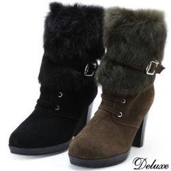 【Deluxe】全真皮暖呼呼兔毛質感中筒靴(黑★綠)-F976-2