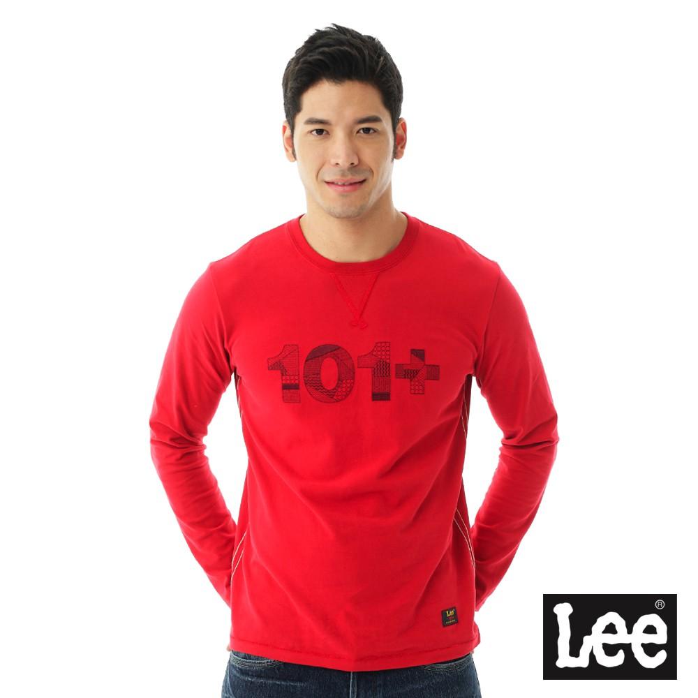 Lee 101+百搭耐看圓領長袖T恤 男 紅色