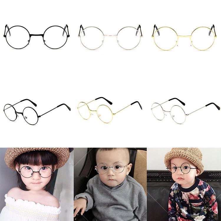 復古圓形兒童金屬眼鏡框 裝飾兒童平光鏡百搭兒童太子鏡【IU貝嬰屋】