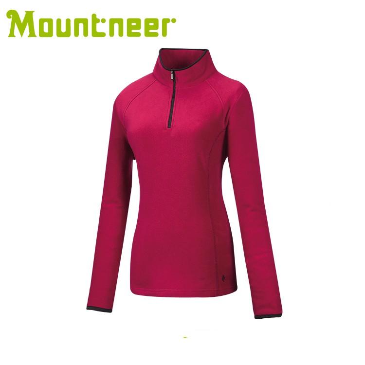 【Mountneer 山林 女遠紅雲彩保暖衣《玫瑰紅》】32F02/高領/長袖/旅遊/悠遊山水
