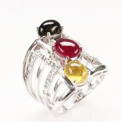 【寶石方塊】豐富多采天然三彩碧璽戒-925純銀飾