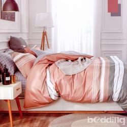 BEDDING-專櫃純棉5尺雙人薄式床包三件組-格雅風情-桔