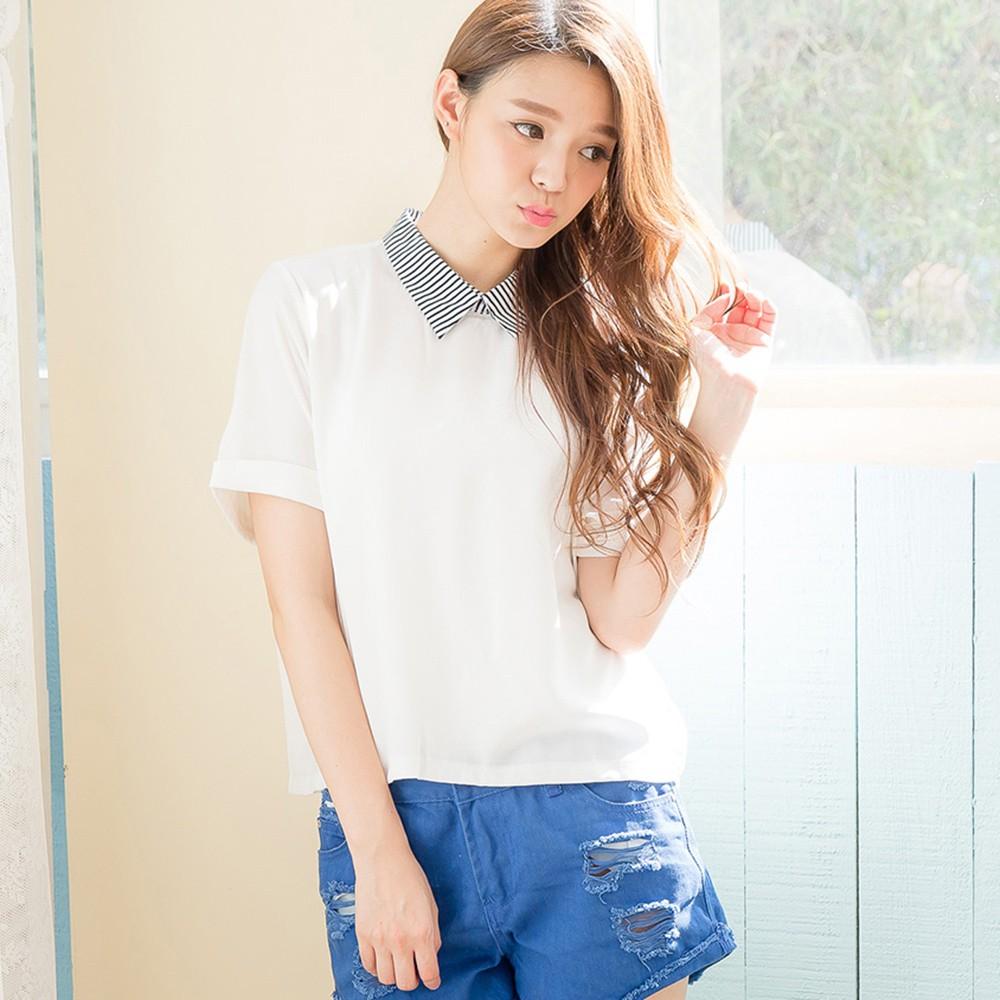 【Wonderland】名媛淑女百搭上衣(白)