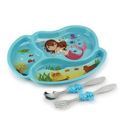 【KIDSFUNWARES】造型兒童餐盤組-小美人魚-行動