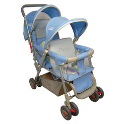 【STBABY】雙人嬰兒手推車(藍/紅)