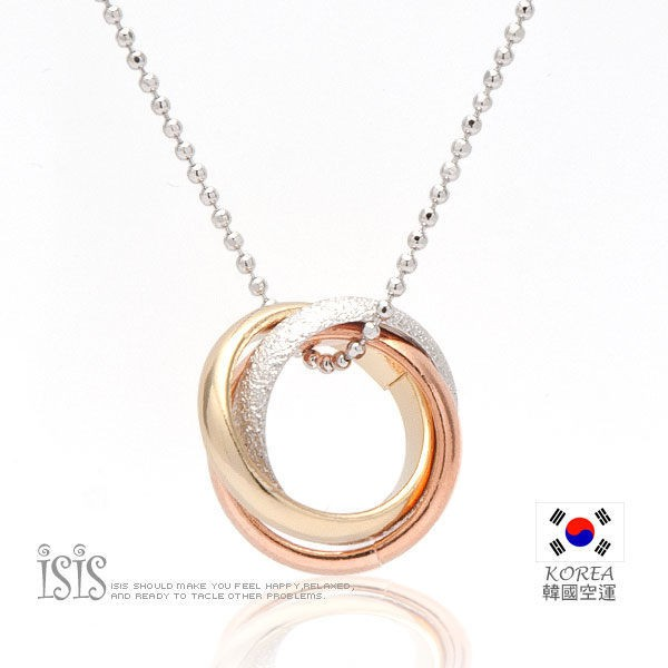 KURO-SHOP韓國進口 銀色鍊 三色環 項鍊
