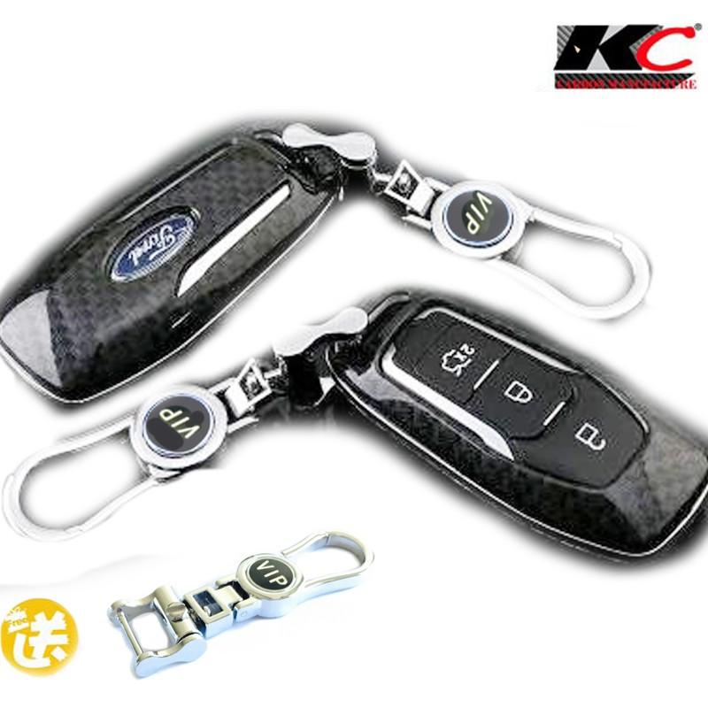 福特FORD 晶片鑰匙殼 碳纖維鑰匙 鎖匙包 卡夢皮套Mondeo Focus Kuga Fiesta 鑰匙套 IKEY