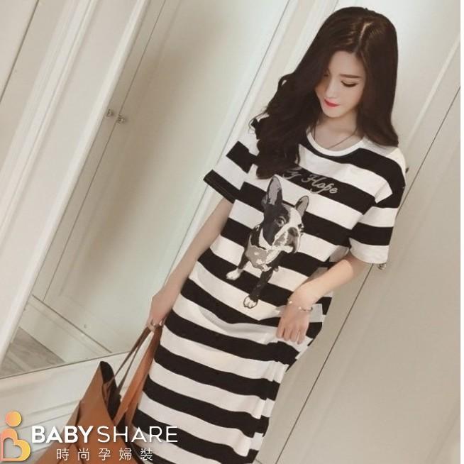[滿額免運] 法鬥卡通哺乳裙 短袖 哺乳衣 長版 月子服 BabyShare時尚孕婦(J081609734)