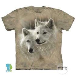 摩達客 (預購)(大尺碼3XL)美國進口The Mountain 白狼知音 純棉環保藝術中性短袖T恤