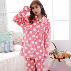 Pink Lady 點點萌熊海島絨排扣長袖成套睡衣(蜜粉)6602-1