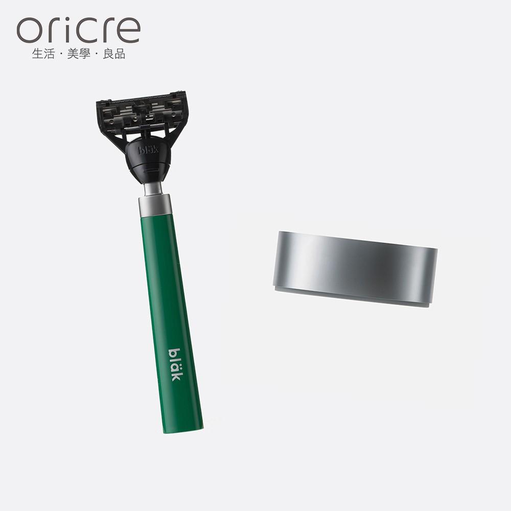 【韓國bläk】blak經典刮鬍刀2.0版(迷霧綠) + 經典水波紋底座
