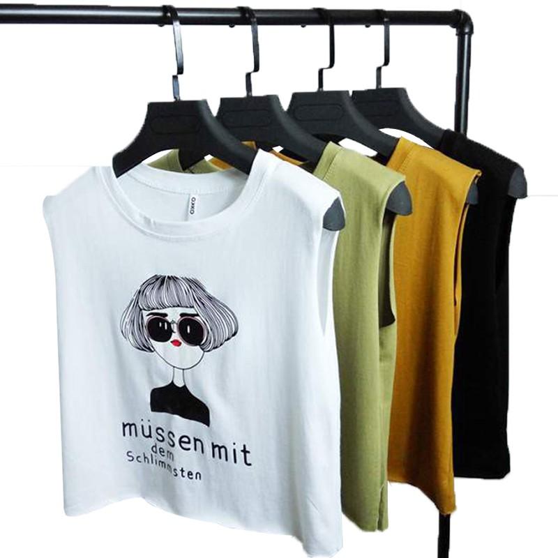 [現貨] 韓版新款百搭顯瘦人像印花背心女裝無袖T恤女上衣短款露臍T恤學生