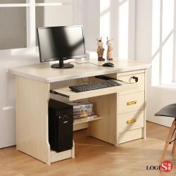 邏爵 LOGIS 簡約附主機架三抽1.2M電腦書桌 木紋桌 LS-107