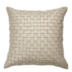 Hung design gift-淺麥色手工編織皮革方形抱枕(非動物皮)