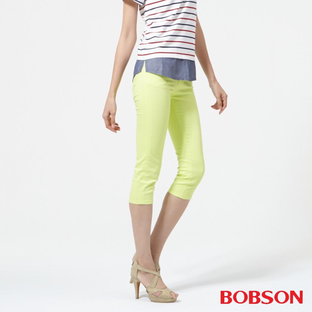 BOBSON 女款高腰膠原蛋白彩色七分褲(223-30)