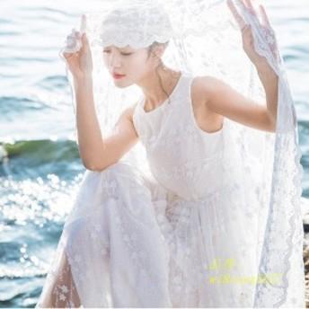 マキシワンピ リゾートワンピース マキシ丈 レースワンピース 刺繍ワンピース 白ワンピース ロングドレス 可愛い シフォン パーティード
