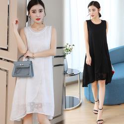 韓國K.W.  雍容華貴絲質感繡花雪紡洋裝
