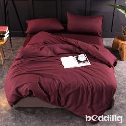 BEDDING-日式簡約純色系加大雙人薄式床包枕套三件組-酒紅色