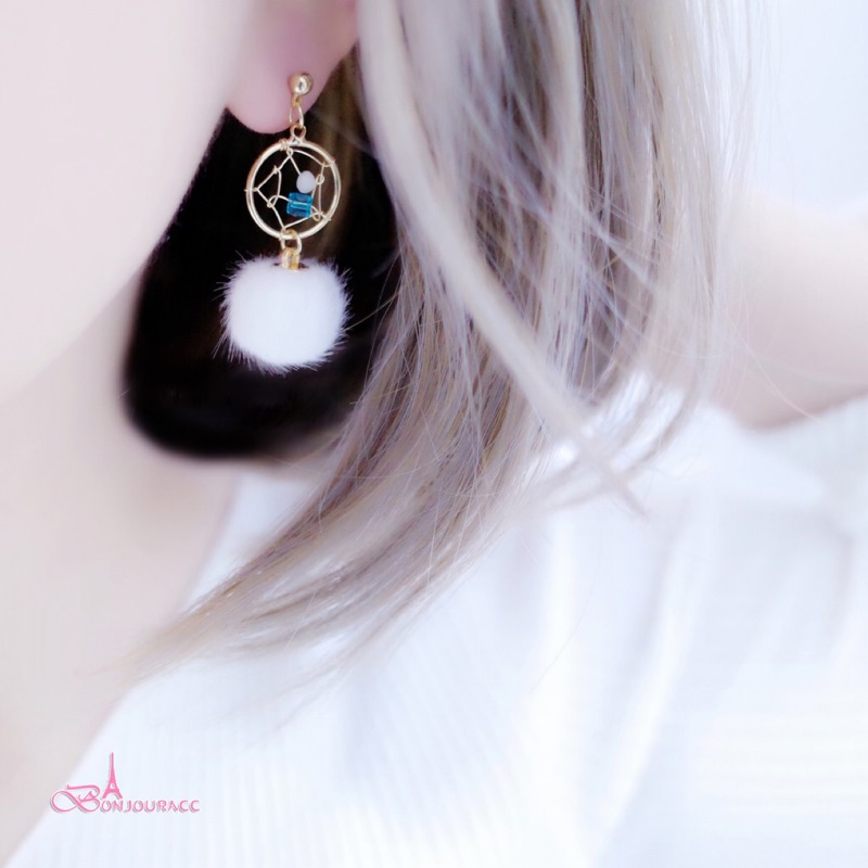 韓國補夢網毛球 耳環 夾式 針式 925銀針【Bonjouracc】