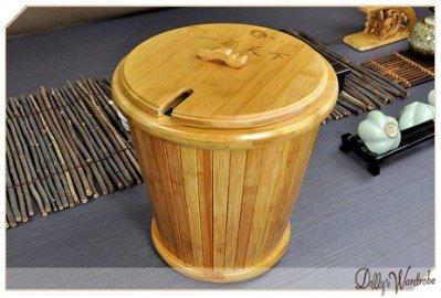 《Dr.夢想家》功夫茶具 高級竹制一桶天下帶蓋圓形茶漬蓄水桶/茶渣桶/收納桶 20550