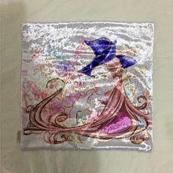 【協貿】奢華復古棉絨布料閃耀美女沙發方形抱枕含芯