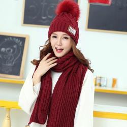 Acorn*橡果-韓系針織加絨保暖毛帽+圍巾1812(兩件組-酒紅)