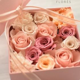 【送料無料】プリザーブド ボックスアレンジ pink box(F)ピンク・ピーチ・アイボリー