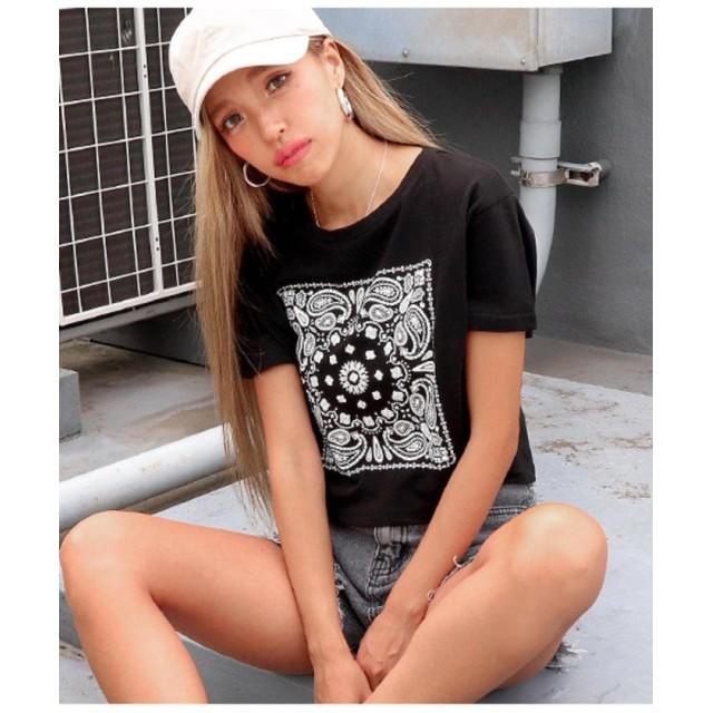 【50%OFF】 アナップ ペイズリークロップドTシャツ レディース ブラック F 【ANAP】 【タイムセール開催中】