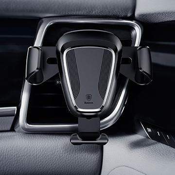 【BASEUS】倍思三角重力自動感應車用/出風口手機支架 (黑色)