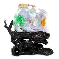 【森茂珠寶】緬甸天然翡翠A貨 老坑三彩雕件 122507