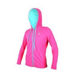 【FIRESTAR】女連帽吸溼排汗針織夾克-慢跑 路跑 連帽外套 螢光粉湖水藍