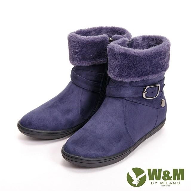 【W&M】經典毛絨反摺造型拉鍊式中筒 女靴-藍(另有黑)