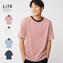 Life8-Casual 微彈棉 條紋五分袖TEE-10197