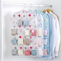 【收納職人】 衣櫥門後吊掛式16格透明分類收納袋掛袋(款式隨機)