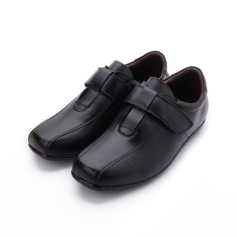 BONJO 真皮魔鬼氈休閒皮鞋 黑 男鞋 鞋全家福