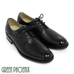 GREEN PHOENIX 經典素面綁帶亮面真皮男皮鞋T63-11133