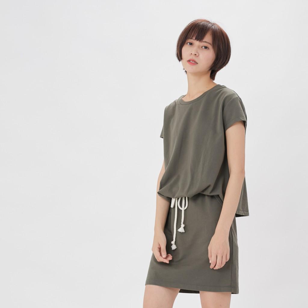 法國小毛圈衣裙洋裝橄綠