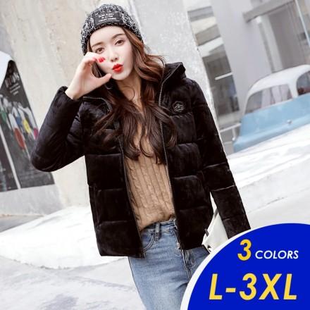 【現貨】韓系時尚連帽質感金絲絨羽絨棉短版外套8808版型小1碼【俏可】