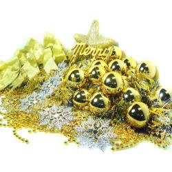 【摩達客】聖誕裝飾配件包組合-金銀色系 (6尺(180cm)樹適用)(不含聖誕樹)(不含燈)