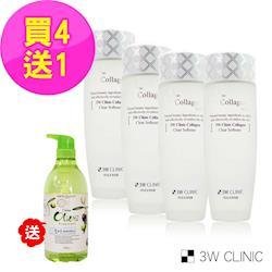 【韓國3W CLINIC】膠原嫩白化妝水150mlx4入(贈oriax橄欖精油沐浴/洗髮精750mlx1瓶隨機出)