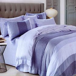 【情定巴黎】藍影格調 萊賽爾天絲鋪棉雙人四件式兩用被床包組